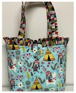 NEW Handmade Tote Purse handbag LLama TeePee floral  faffygiraffe