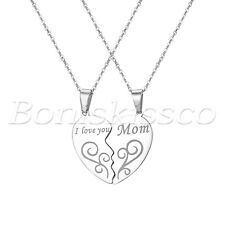 "Mother and Child Stainless Steel ""I Love You Mom"" Heart Pendant Necklaces 2pcs"