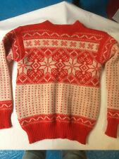 "Norlender 100% Wool Norwegian Jumper. Red with White snow flake 38"" chest"