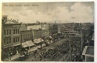 Antique Postcard Kent Street, Lindsay, Ontario, Canada - Military Parade