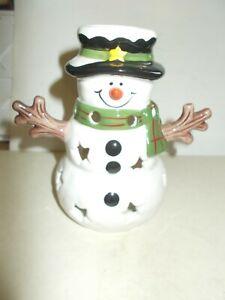 "Yankee Candle Tea Light Holder 5"" Snowman 2012 Excellent Cond. Christmas Decor"