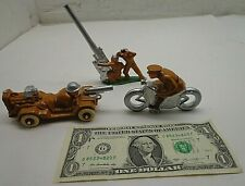 3 ECCLES BROTHERS TOY SOLDIERS Motorcycle,Anti-Aircraft Canon,Machine Gunner Gun