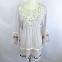 Glow Women Coachella Tunic Top M Coins Gypsy Sheer Lavender Tassels Empire Waist