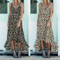 Ladies Women Summer Beach Strappy Leopard Print Dress Holiday Long Sundress Plus