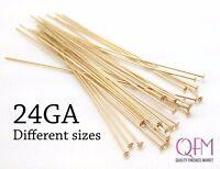 50pcs 14K Gold Filled Head Pins Flat Head, Nail Head Pin, 0.5mm, 24 Gauge Thick