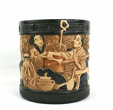 Victorian Japonaiserie Jardiniere Pot Planter Bronze Ivory Glaze Bretby Pottery