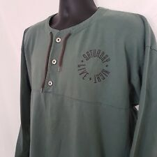 SNL Swag Mens XL Henley Green Spell out Chest Border Graphics Button Drawstring