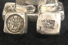 "1 TR/OZ MK BARZ ""The Spiders Web"" Stamped Cube .999 Fine Silver"