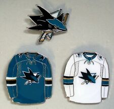 SAN JOSE SHARKS - SET OF 3 TOP QUALITY NHL LICENSED LAPEL PINS - ALL NEW!
