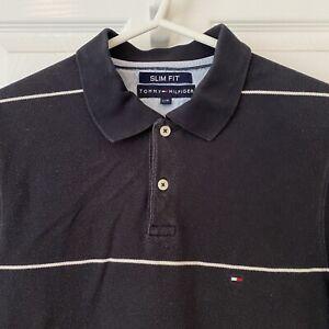 TOMMY HILFIGER Navy Blue White Striped Polo Shirt T-shirt Retro Top Mens Large L
