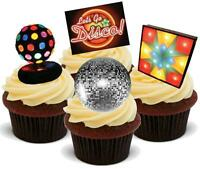 NOVELTY Disco Lights Party Mix 12 - 48 VANILLA Cake Toppers Edible Icing 70s Fun