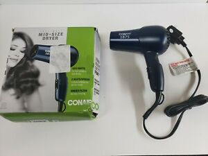 New Conair 1875 Watt Mid-Size 2 Speed/Heat Styler Hair Dryer Blue