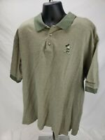 WALT DISNEY WORLD Men's Mickey Mouse Polo Golf Shirt Zig Zag Olive Green Sz XXL