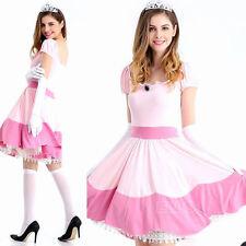Women Sexy Pink Princess Peach Toadstool Women Fancy Dress Halloween Costume