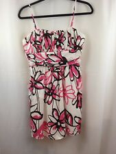 Java Dress Sundress Size 13 Juniors Strappy White Pink Brown Fully Lined