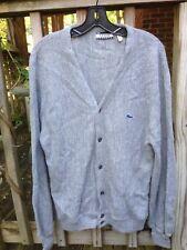 MENS VTG 80s Izod Lacoste Cardigan Sweater Gray Preppy Prep Alligator Croc M
