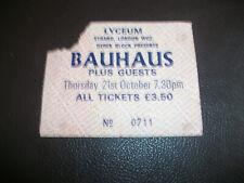 More details for bauhaus old gig concert ticket 21st oct 1982 lyceum london punk