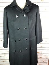 Vintage Shagmoor Coat Black Wool Long Military Silver Buttons 1940's 50's Double