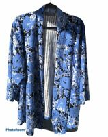 Kasper Sz 3x Blue & Black Floral Textured Striped Open Front Cardigan EUC