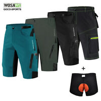 Mens Cycling Shorts Loose MTB Mountain Bike Pants Baggy Padded Bicycle Shorts