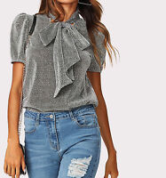 Silver Tie Neck Puff Sleeve Elegant Top Blouse Casual Work