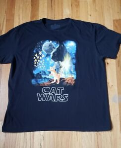 Cat Wars T-Shirt / Funny Cat Shirt Star Wars Spoof Tee Size 2XL