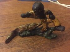 Figural Cast Iron Bottle Opener, F-134, Alligator & Boy, Vintage