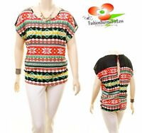 PLUS Size Western Boho Tribal Aztec Sheer Knit Peasant Tunic Shirt Top 1X 2X 3X