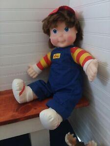 "Vintage My Buddy Hasbro Playskool Brown Blue Eyes Boy 22"" Doll 1990 Red Overall"