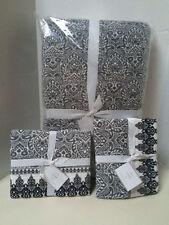 Pottery Barn Nori Scarf Print KING quilt & 2 King shams bohemian black white NWT