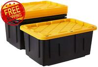 2 PACK Durabilt Storage 27 Gallon Tough Container, Black and Yellow FREE SHIP