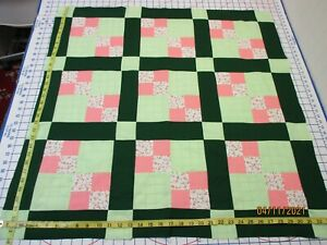 Handmade Unfinished Quilt Top Scrappy 4-Square Peach&Green Approx.34x34(309A)