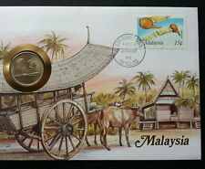Malaysia Traditional Transportation 1987 Cow Oxcart House FDC (coin cover *rare