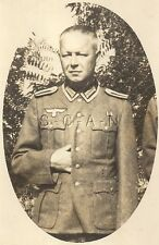 WWII German RP- Portrait- Soldier- Uniform- Hand Inside Jacket- Strikes a Pose