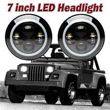 Cree 7 Halo Led Headlight Bulbs Lamp For Jeep Wrangler White Bright 2pcs