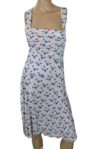 BLUGIRL BLUMARINE Women's Dress White Hearts Print Size 46 Italy (US Size 8)