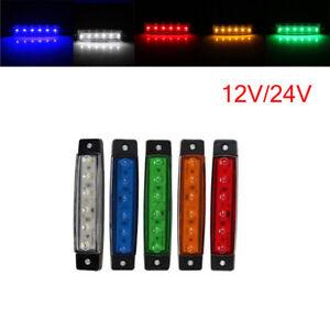 12V 24V 6LED Side Marker Light Indicator Lamp For Truck Trailer Caravan Bus Car