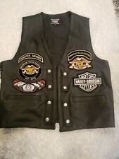 Men's Harley Davidson Owners Group Black Leather Vest Sz S Kingwood Chapters