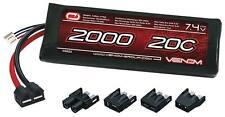 Venom 15023 2 Cell 1P 7.4V 2000mAh 20C Lipo Battery : Traxxas 1/16 E-Revo