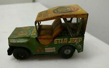 King Star Jeep Tin Car Litho with Lion 1950's Vintage