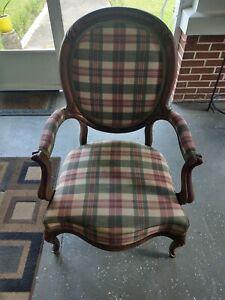 "Vintage Antique Chair 39 1/2"" X 28"" Fabric Design"