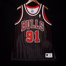 100% Authentic Dennis Rodman Champion Bulls Pinstripe Jersey Size 44 L M