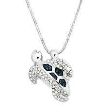 "Sea Turtle Mother & Baby Charm Pendant Necklace - Sparkling Crystal - 17"" Chain"