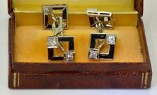 Rare Art-Deco Raymond Yard 1.2ct Diamonds&Onyx 18k white gold cufflinks set,1930
