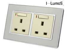 I LumoS AS Silver Satin Metal & Gold 13A Single/Double Sockets & Light Switches