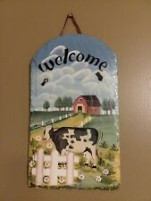 """Flagstone Look-a-Like Cow/Farm """"Welcome"""" Sign Hand Painted"""