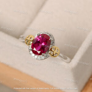 3Ct Oval Cut Red Ruby & Diamond Halo Engagement Ring 14K White Gold Finish