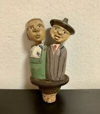 Vintage Rare Anri Wooden Bottle Stopper Couple