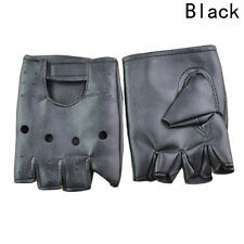 Mens Punk Fuax Leather Gloves Black Half Finger Fingerless Biker Sports Cycling