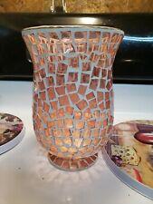 "Rose Pink Hurricane Lamp Crackle Glass Candle Holder 9"""